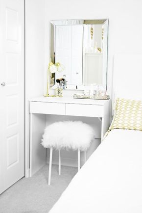 DIY Fuzzy Stool, Furry Stool, Mongolian Stool, Sheepskin Stool, Home DIY, Dressing Table, Vanity, White Stool, White and Gold, Girls Bedroom, IKEA, White Stool, Affordable Decor, Budget