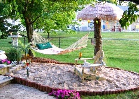 How about creating your very own beach getaway in the backyard. All you need is sand a tiki umbrella and a hammock! Featured on Completely Coastal: http://www.completely-coastal.com/2015/04/backyard-ideas-coastal-living.html
