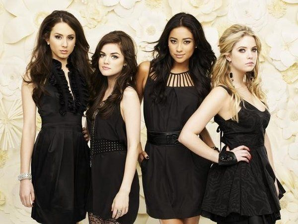 Pretty Little Liars cast. From left to right: Spencer Hastings (Troian Bellisario), Aria Montgomery (Lucy Hale), Emily Fields (Shay Mitchell) and Hanna Marin (Ashley Benson)
