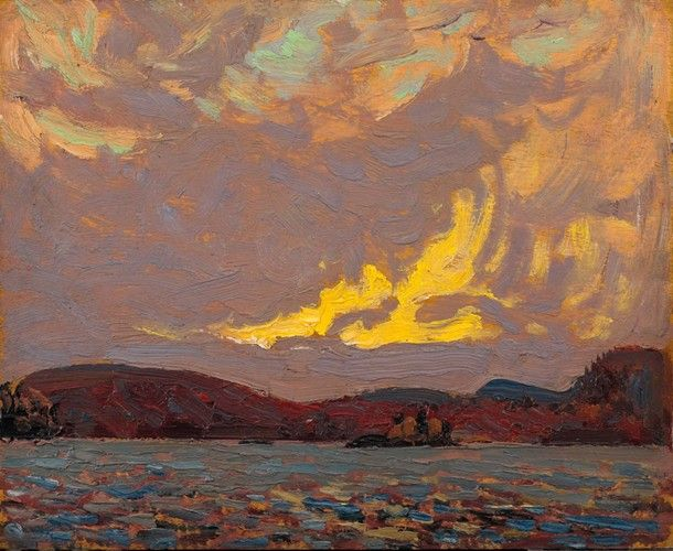Tom Thomson - Canoe Lake Algonquin Park Autumn 1916 (8.5 x 10.5 Oil on panel)