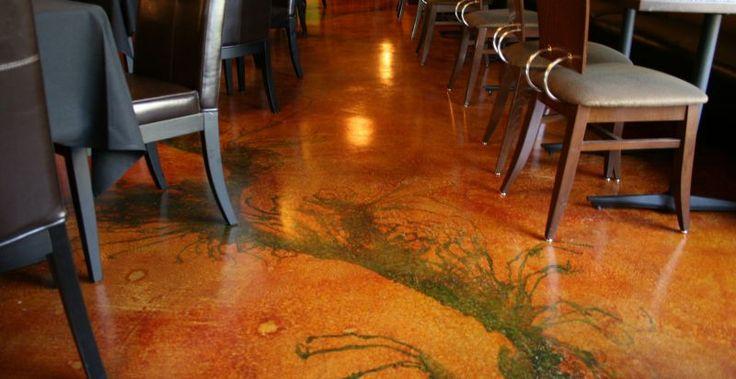 Pavimento in cemento colorato realizzato con impasto autolivellante