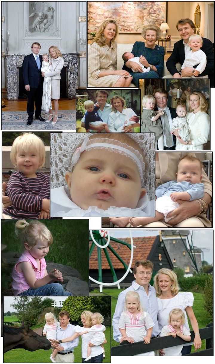 A collection of TRH Prince Friso, Princess Mabel and their children.