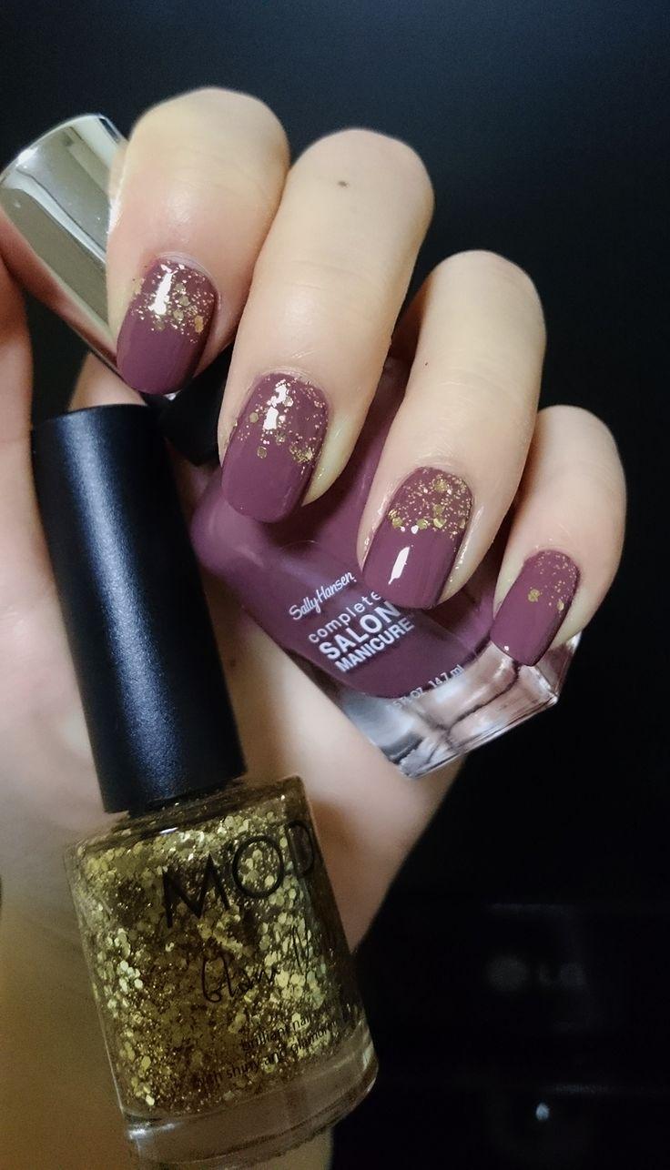 "#Sally Hansen complete salon manicure #Plum's the word (280) + MODI Glam Nails #27 (""Gold Sequin"")"