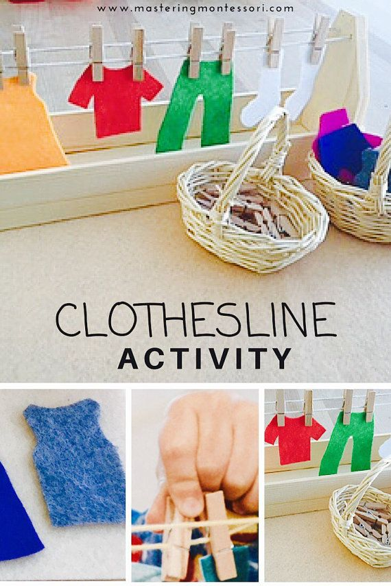Hand Crafted Montessori Practical Life Clothesline Activity. This work is always a favorite! Children love activities that mimic real life,