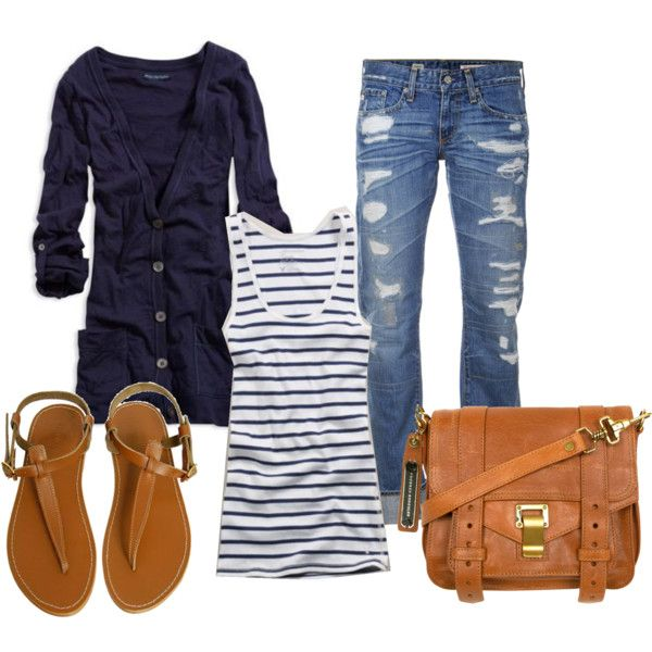 Blue with cognac accessories: Woman Fashion, Casual Style, Fashion Ideas, Fall Outfits, Casual Outfits, Casual Looks, Cute Clothing, Blue And White, Woman Outfits
