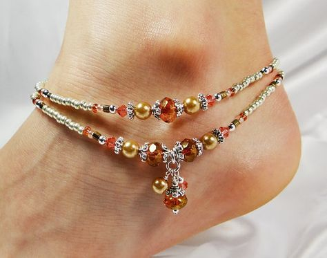 Anklet, Ankle Bracelet, Double Strand Dangles, Rose Gold Watermelon PInk, Gift for Her, Beach Jewelry, Vacation Jewelry, Wedding Jewelry