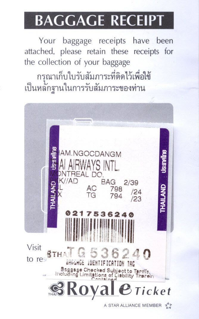 THAI Airways Royal Silk Business Class Luggage Receipt. TG-794 Non-stop Bangkok BKK to Los Angeles LAX on Airbus A-340-500 and Air Canada AC-798 Los Angeles LAX to Montreal YUL on Airbus A-321. 2008-06-23