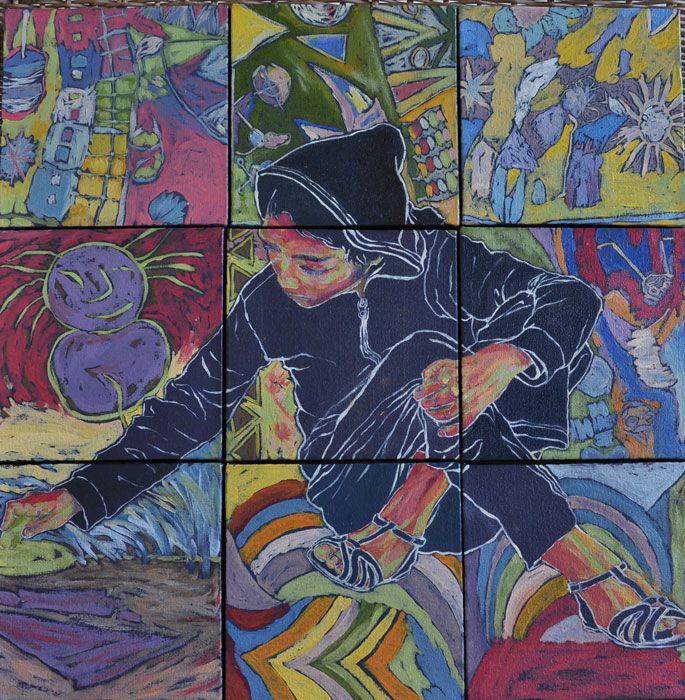 2ft in Rainbows (oil on canvas, square mosaic 9 X  : 150X150mmX22mm)   by Lisl Barry  www.lislbarry.co.za as part of the Prince Albert Pavement Art Project #pa_rt