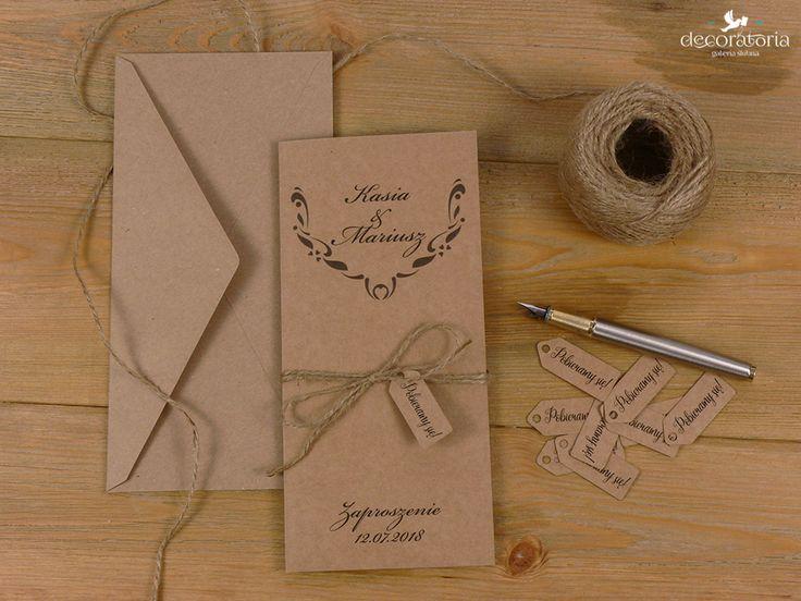 Eco wedding invites Zaproszenia ślubne - papier ekologiczny i sznurek, w całości EKO