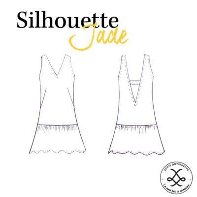 Robe Jade, patron couture - dessin technique - Louis Antoinette