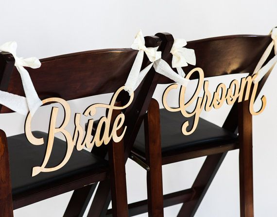 Bride and Groom Chair Signs for Wedding Hanging by ZCreateDesign