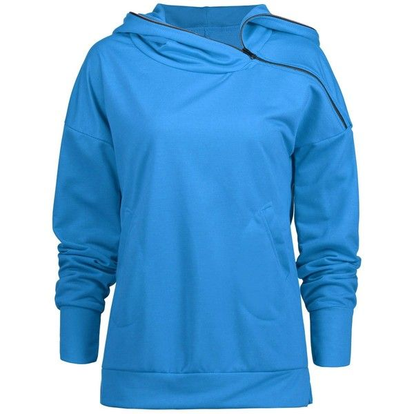 Skew Zip Up Hoodie (415 UAH) ❤ liked on Polyvore featuring tops, hoodies, blue hoodie, zip up top, blue hoodies, zip up hoodie and blue zip up hoodie