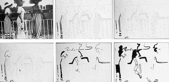 Ketty La Rocca. Henri Lartigue. Photo, Indian ink drawings on paper. 35.7x51 cm. 1974 Courtesy of Galleria Milano