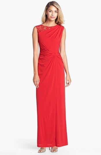 Ellen Tracy Lace Yoke Side Knot Jersey Gown | Nordstrom