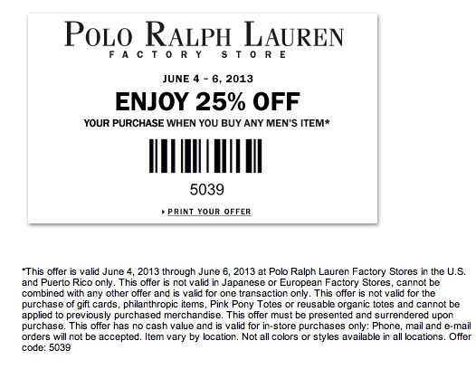 hög kvalitet snygga skor bästa service Polo ralph lauren factory store coupon august 2018 / Photo stamps ...