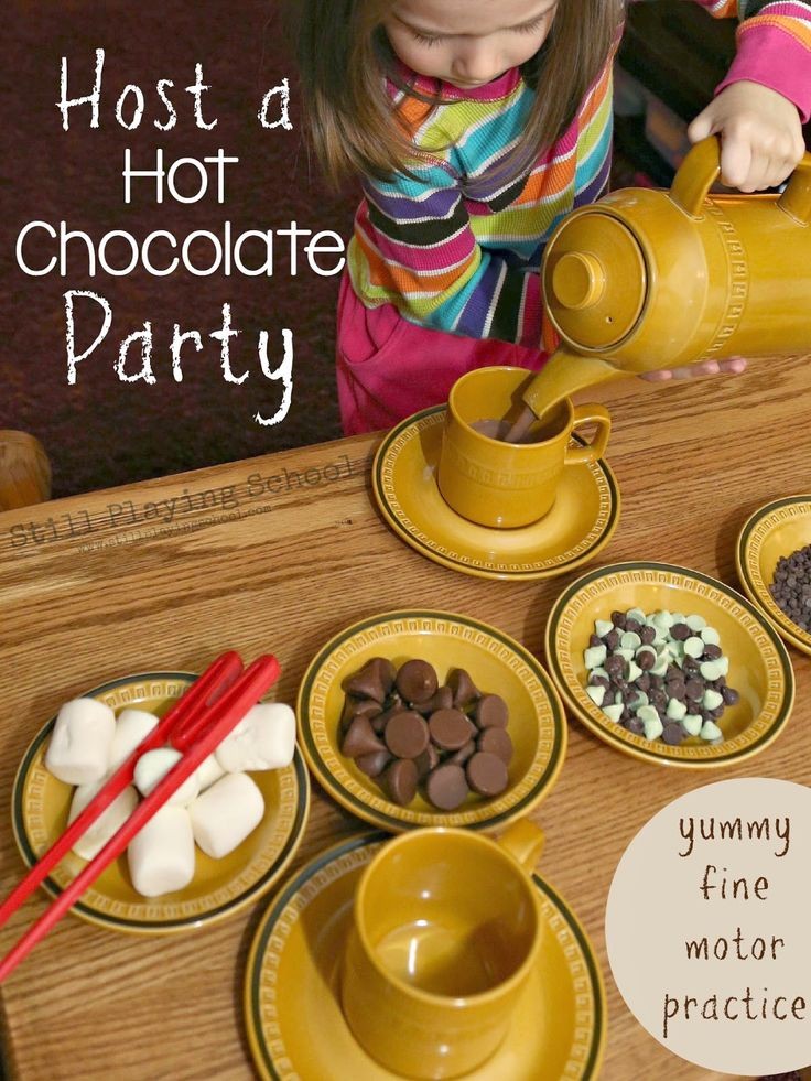 Host a Hot Chocolate Party for Fine Motor Practice for Kids from Still Playing School