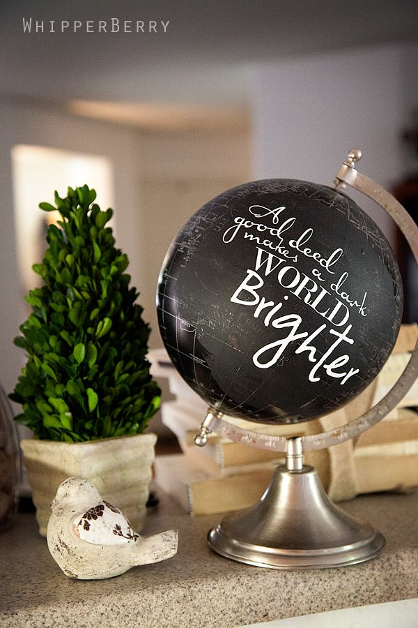 We love this slightly less polished idea: Rather than painting the entire globe in chalkboard paint, blogger Heather covered only a portion of it, then used varying fonts printed on vinyl to add a quote.