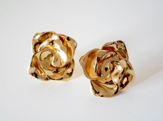 Vintage Dior Floral Earrings Clip On Late 80s by MINDenVintage