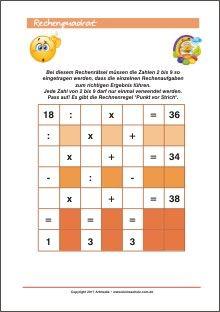 Rechenquadrat - Rechenrätsel Training für Kinder | Matemática ...