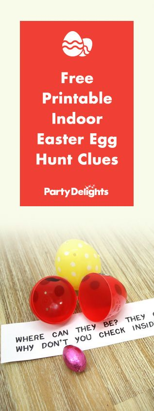 Organise an eggs-ellent indoor Easter egg hunt with our free printable Easter egg hunt clues. Download them on the Party Delights blog.