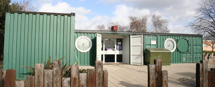 The Mile End Park Youth Centre consists of two buildings which were created from seven shipping containers in 2003 and are used for classrooms - each building taking just one day to install.