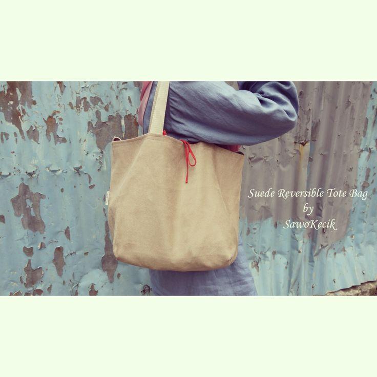 Suede Reversible Tote Bag by SawoKecik