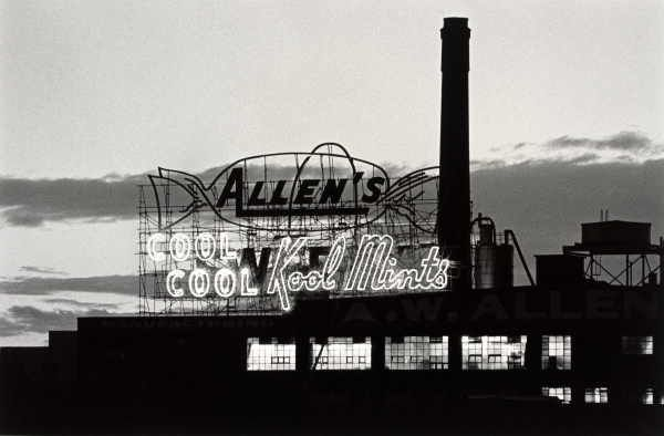Colvin, Robert  Allen's Sweet sign at night, South Melbourne picture / Robert Colvin.  Photo taken in 1990. From State Library, Vic.