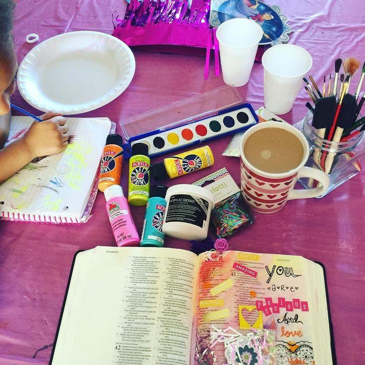 #BibleStudy & #BibleJournaling with #Cupcake  #MotherDaughter #QualityTime #TrainingUpAChildOr6 #Proverbs31 #HisWord #Jesus #TeamDias #SaturdayMorning #CasaDeDias #Paint #Color #Art #BibleArt #Coffee #JesusAndCoffee by mrsdias