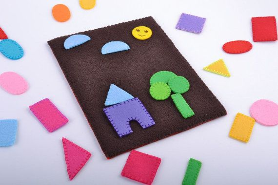 Handmade children s felt soft educational toy with geometric figures