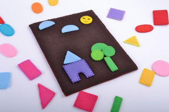 Handmade children s felt soft educational toy with geometric figures