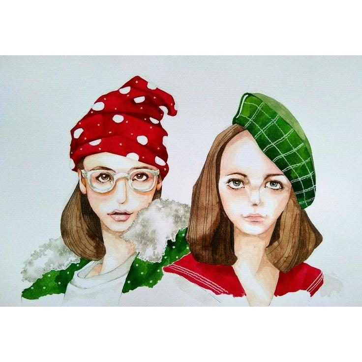 MERRY CHRISTMAS🎄🎠🎈🎉 Ref : Emma Stone & model in NYLON magazine.... #watercolour and #pastelpencils  #christmas #illustration #fashionillustration