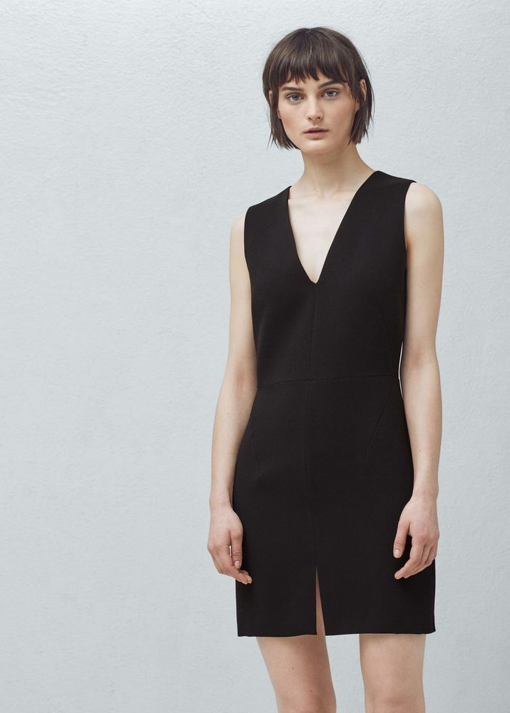 NEW MANGO (ZARA Group) Black Minimal Fitted Dress With Front Slit Size XL  | eBay