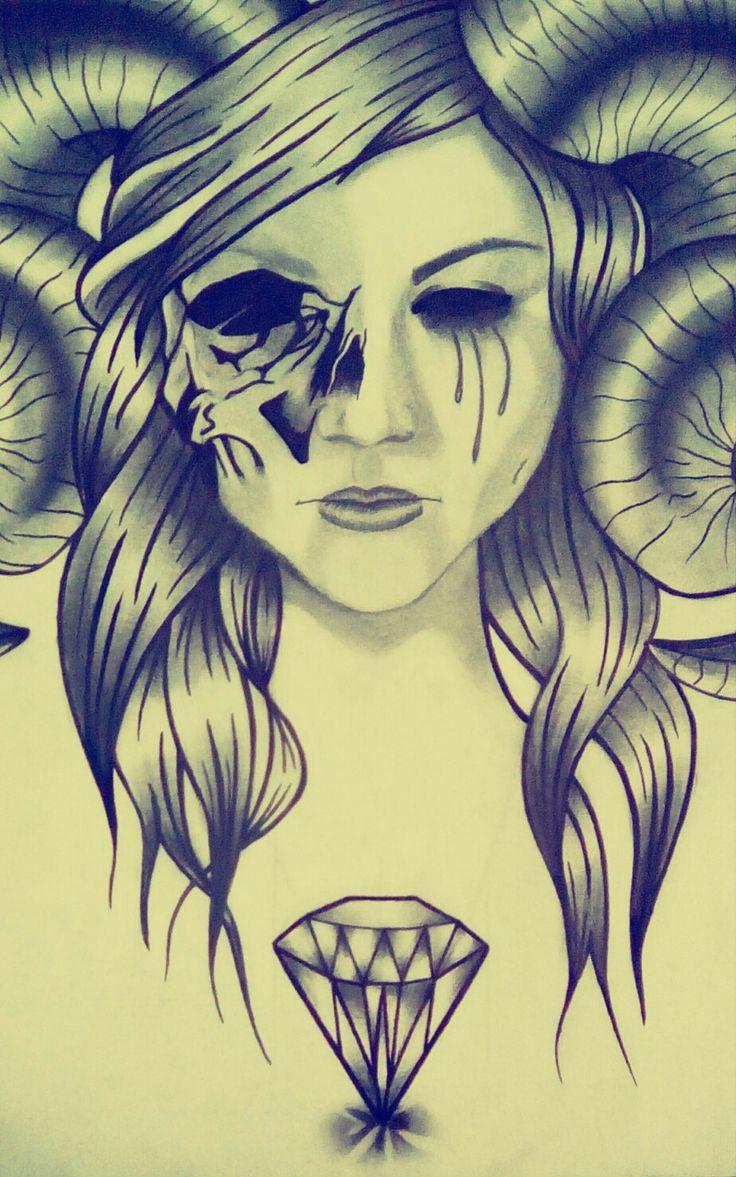 Diamond skull girls tattoo