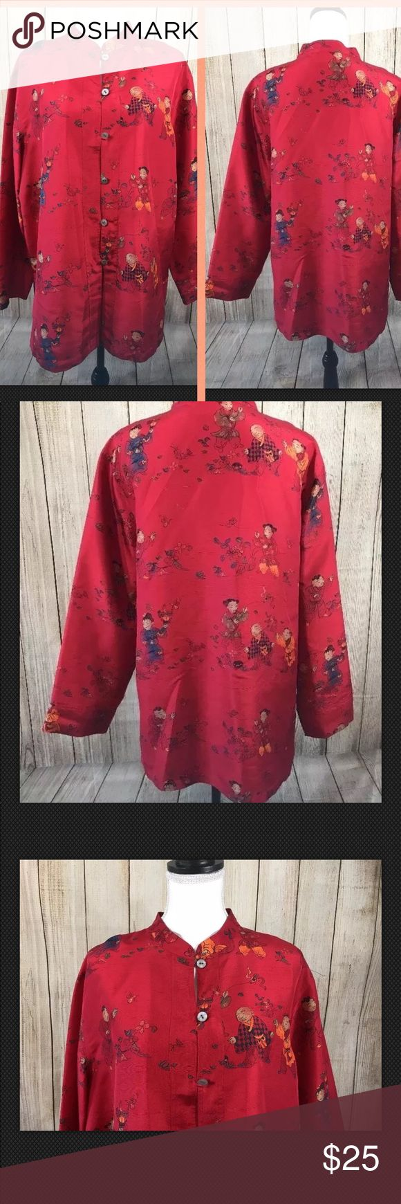Chicos Design 3 100% silk Red Oriental Blouse Chicos Design 3 100% silk Red Oriental Style Blouse Women's Size Large Length from top of shoulder to bottom 28 inches  under arm to under arm 23 inches Thank you for looking. Please check out our other fashion find a store Chico's Tops Blouses