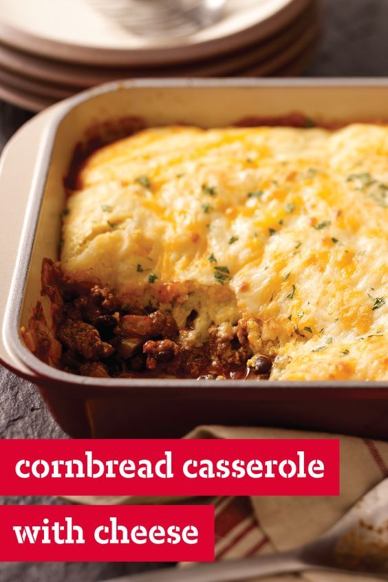 Cornbread Casserole with Cheese – Enjoy serving chili with cornbread? This beefy, cheesy recipe delivers on your favorite dinnertime flavor combination, with super easy prep. No wonder it's a top-rated dish!