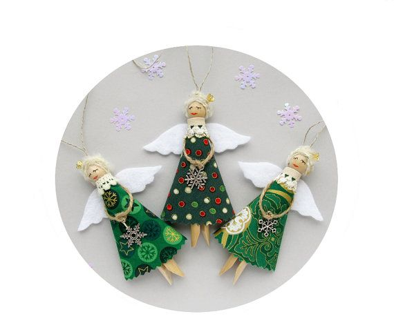 Christmas Ornaments, Green Christmas Angels, Tree Decorations - SET of 3