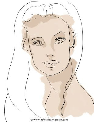 How To Draw Fashion: How to Paint or Digitally Color a Face - Step by Step
