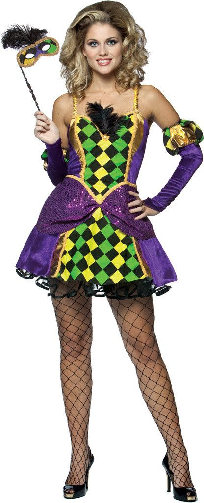Mardi Gras Queen Adult Costume Includes:Dress, Mask and Gloves. Does not include stockings or shoes. Weight (lbs) 0.76 Length (inches) 15 Width (inches) 11 Height(inches) 1