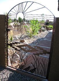 metal entry gates, sun, quail | AGAVE SUNBURST GATE