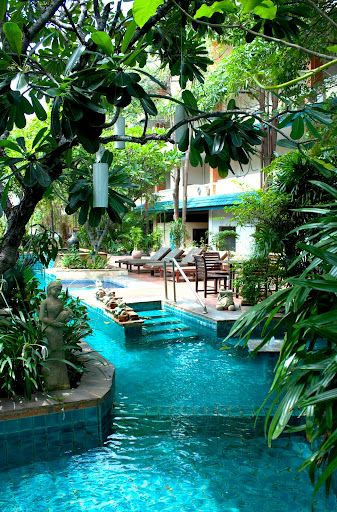 Tropical pool backyard. everyday is a vacation day.