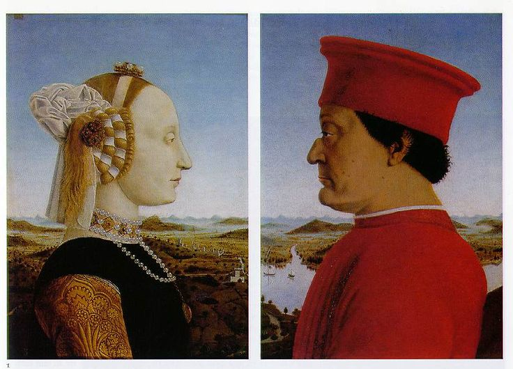 Artist: Piero della Francesca Name: Double Portrait of Battista Sforza, Duchess of Urbino and Federico da Montefeltro, Duke of Urbino Date: 1460's This paintings features the duke of Urbino and his wife, two powerful people who were leaders of the mercenaries, as well as great patrons who refined Urbino. It is a classic style art piece that showcases their power and wealth, in the contrast from the two to the landscape behind them.