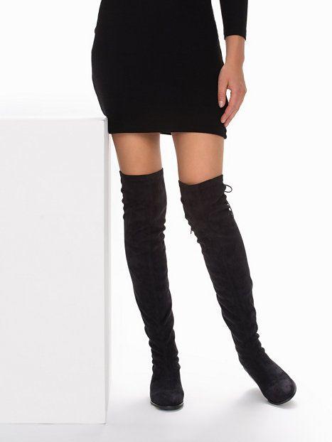 Flat Thigh High Boot - Nly Shoes - Czarny - Obuwie Na Co Dzień - Obuwie - Kobieta - Nelly.com