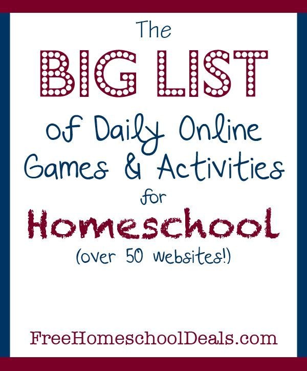The BIG LIST of 50+ Free Online Games and Activities for Homeschool Students!!