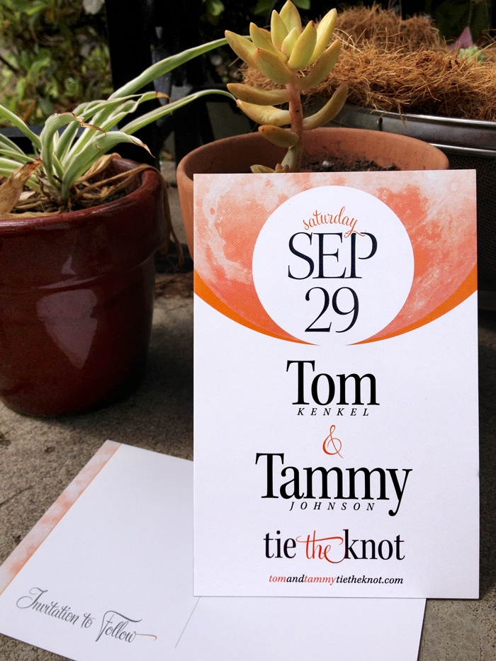We're tying the knot, and this is the postcard we designed to announce the occasion. Saturday's Y is tied around Sep's P in in a circle proportionally smaller (by my favorite ratio, φ) than the moon in the background—colored orange to represent the harvest moon that will rise that night. Typefaces are Kepler and Feel Script.