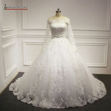 Fora do ombro mangas compridas vestido de baile princesa Real vestido de noiva 2016(China (Mainland))