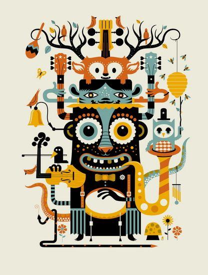 monsters poster illustration totem