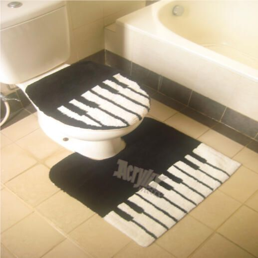Piano keyboard toilet seat cover and loo mat  all you need now is the matching 734 best Toilets images on Pinterest A dress Bath Bathroom