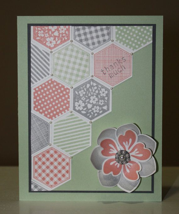 Flowers and hexagons  thank you  card made with Stampin'UP! products