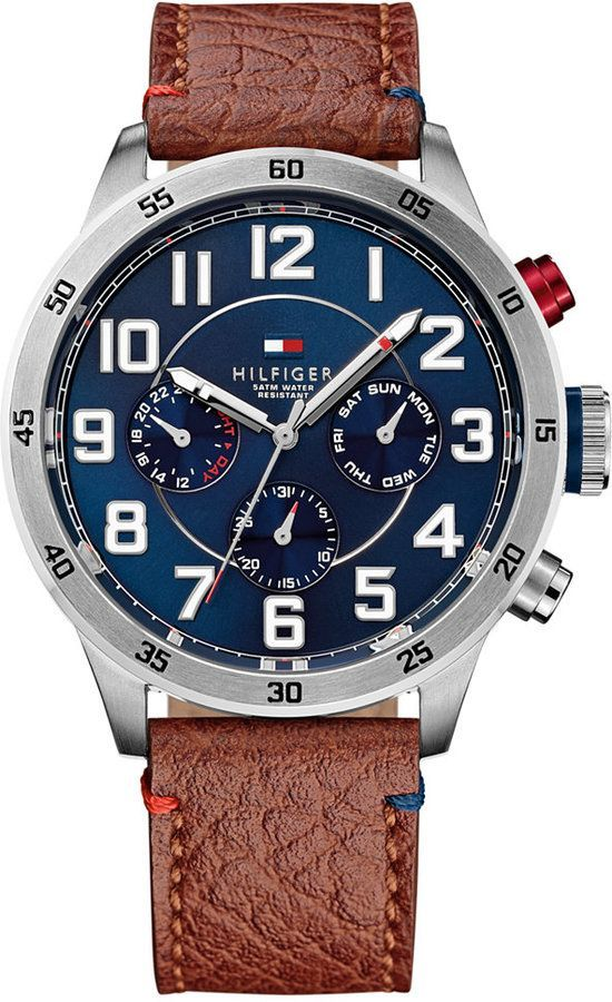 Tommy Hilfiger Men's Brown Leather Strap Watch 46mm 1791066, Tommy Hilfiger's brown leather watch is the perfect companion for your favorite jeans.