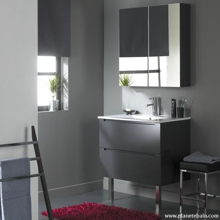 meuble de salle de bain 80 cm 2 tiroirs gris laqu